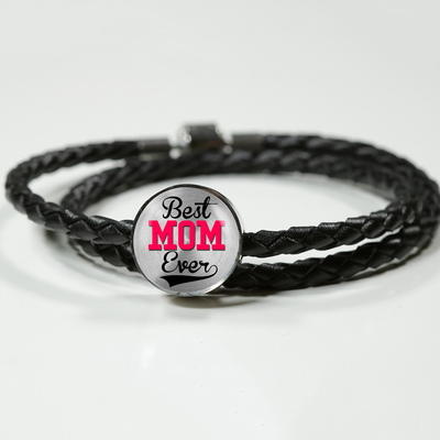 Best Mom Ever - Double-Braided Leather Charm Bracelet