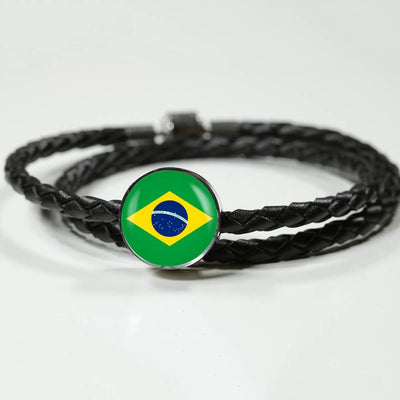 Brazilian Flag - Double-Braided Leather Charm Bracelet