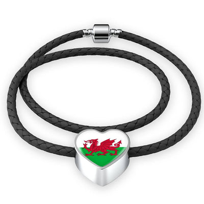 Welsh Flag - Double-Braided Leather Heart Charm Bracelet