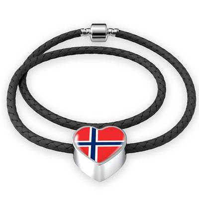 Norwegian Flag - Double-Braided Leather Heart Charm Bracelet