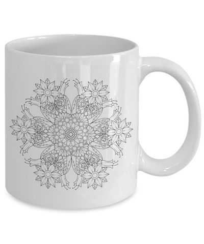 Flower Mandala 001 - 11oz Mug - Unique Gifts Store