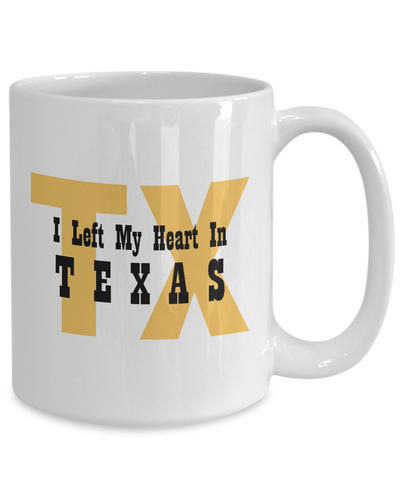 Heart In Texas - 15oz Mug - Unique Gifts Store