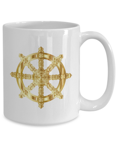 Golden Dharma Wheel - 15oz Mug - Unique Gifts Store