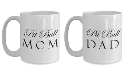 Pit Bull Mom & Dad - Set Of 2 15oz Mugs