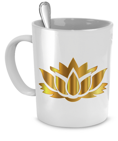 Golden Lotus Flower - 11oz Mug - Unique Gifts Store