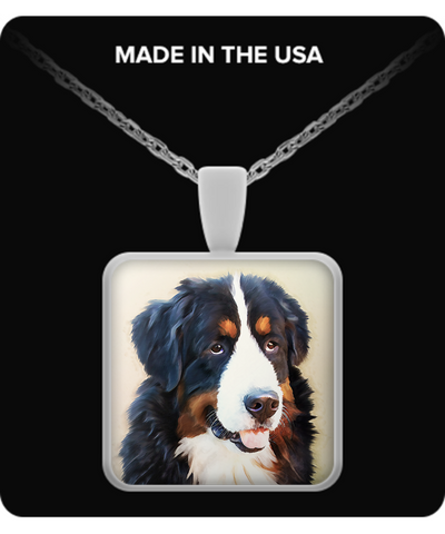 Bernese Mountain Dog - Square Necklace - Unique Gifts Store
