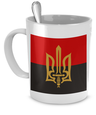 Stylized Tryzub And Red-Black Flag - 11oz Mug - Unique Gifts Store