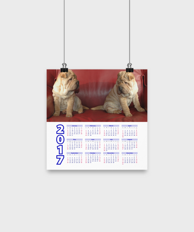 "Chinese Shar-Peis - Calendar Poster 10""x10"" - Unique Gifts Store"