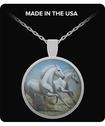 Running Horses - Round Pendant Necklace
