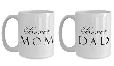 Boxer Mom & Dad - Set Of 2 15oz Mugs