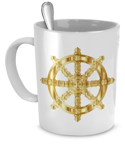 Golden Dharma Wheel - 11oz Mug - Unique Gifts Store