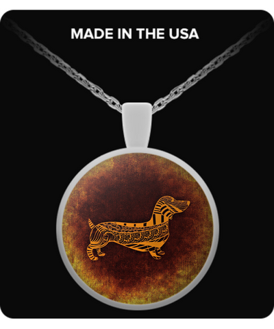 Dachshund, Abstract Art - Round Necklace - Unique Gifts Store