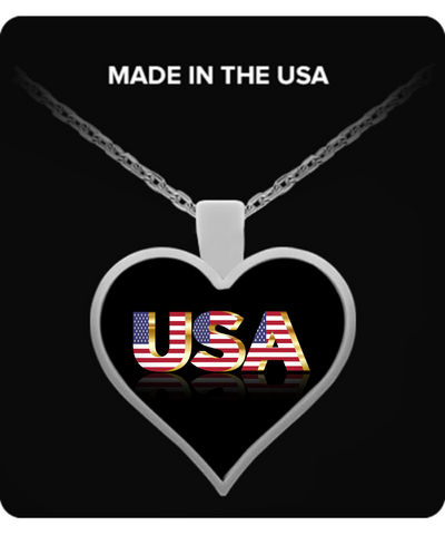 The USA - Heart Pendant Necklace - Unique Gifts Store