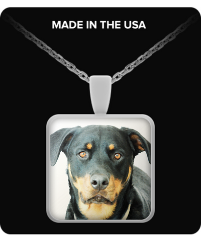 Rottweiler - Square Pendant Necklace - Unique Gifts Store