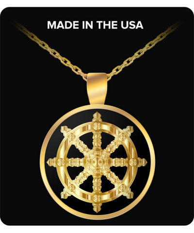 Golden Dharma Wheel - Gold Plated Necklace - Unique Gifts Store