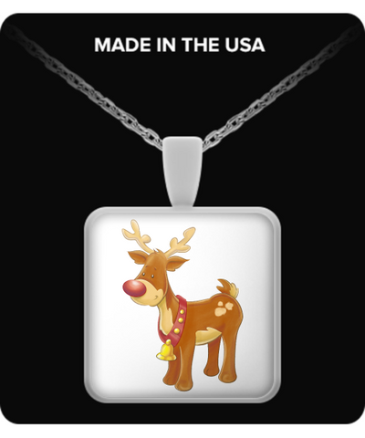 Christmas Reindeer - Square Necklace - Unique Gifts Store
