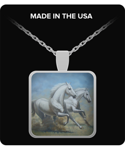 Running Horses - Square Pendant Necklace