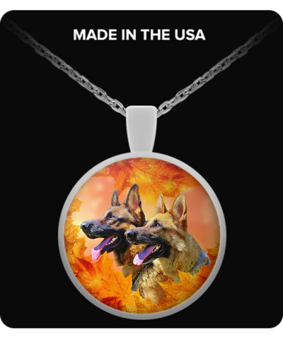 German Shepherds, Autumn - Round Necklace - Unique Gifts Store