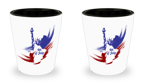 4th of July - Set Of 2 Shot Glasses - Unique Gifts Store