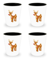 Christmas Reindeer - Set Of 4 Shot Glasses