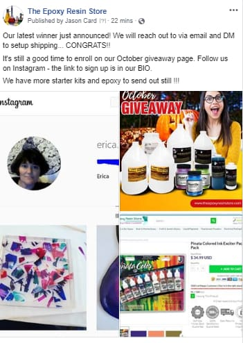 Epoxy Resin products for free? Check out our October GIveaway winner!