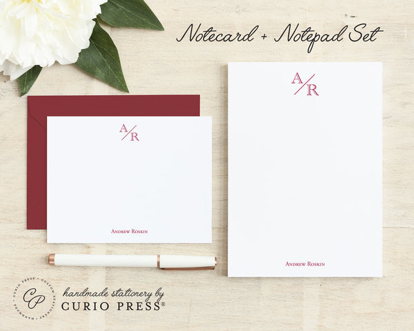 Academy Monogram Set: Flat Cards + Notepad - Curio Press