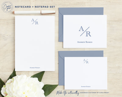 Academy Monogram Set: Folded + Flat + Notepad