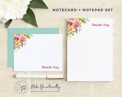 Adeline Florals 2-Piece Set: Flat Card + Notepad Set