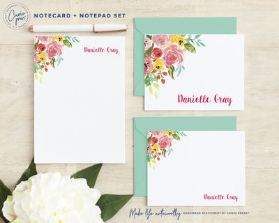 Adeline Florals 3-Piece Set: Folded + Flat + Notepad Set