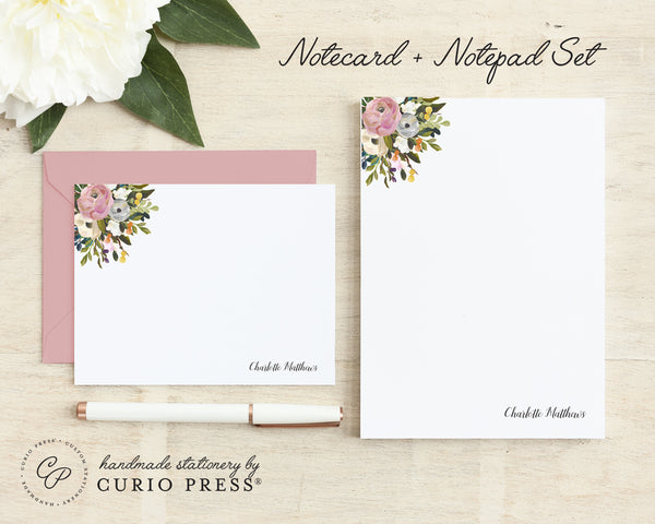 Amelia Florals: Flat Card + Notepad Set - Curio Press