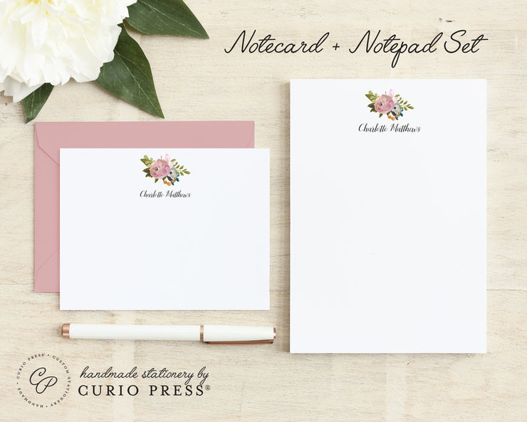 Amelia Florals Two: Flat Card + Notepad Set - Curio Press