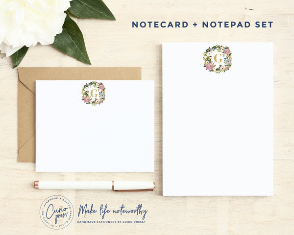 Amelia Monogram: Flat Card + Notepad Set - Curio Press