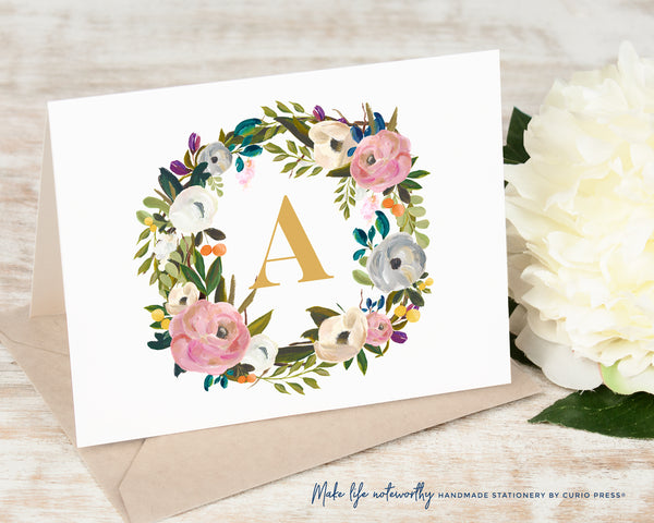 Amelia Monogram: Folded Card Set - Curio Press