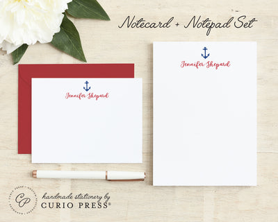 Anchor 2-Piece Set: Flat Card + Notepad Set - Curio Press