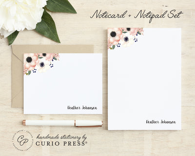 Anemone Florals: Flat Card + Notepad Set - Curio Press