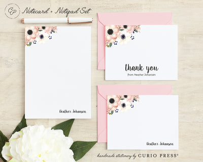 Anemone Florals: Folded + Flat + Notepad Set - Curio Press
