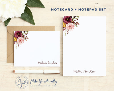 Autumn 2-Piece: Flat Card + Notepad Set