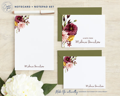 Autumn 3-Piece Set: Folded + Flat + Notepad Set