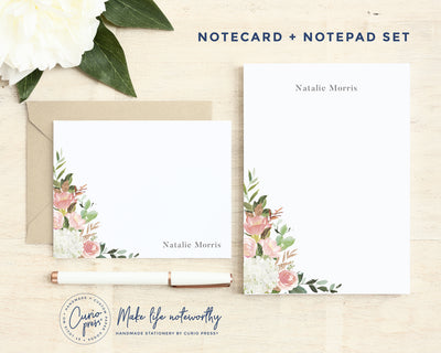 Blush Corner 2-Piece Set: Flat Card + Notepad Set