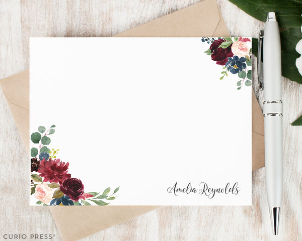 Burgundy Florals: Flat Card Set - Curio Press