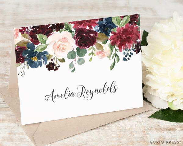 Burgundy Florals: Folded Card Set - Curio Press