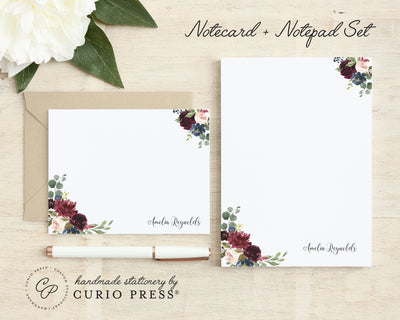Burgundy Florals: Flat Card + Notepad Set - Curio Press