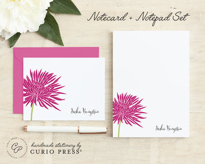 Chrysanthemum Solid: Folded Card + Notepad Set - Curio Press