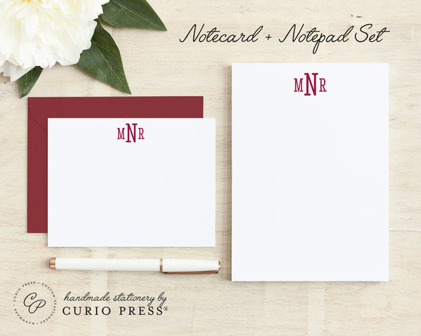 Classic Monogram: Flat Card + Notepad Set - Curio Press
