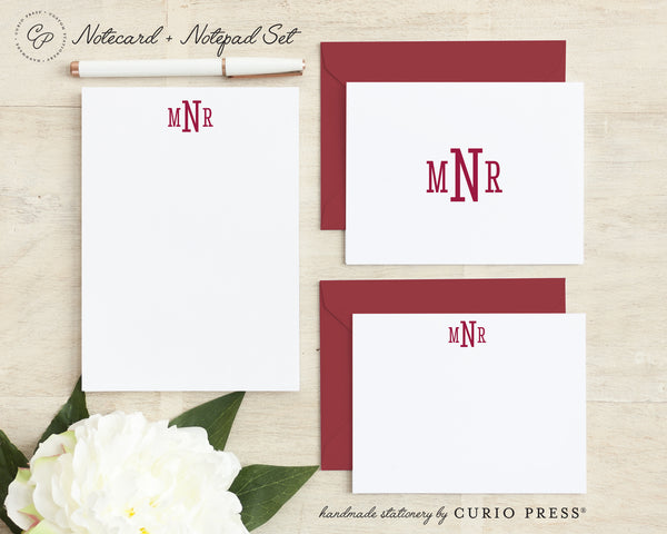Classic Monogram: Folded + Flat + Notepad Set - Curio Press