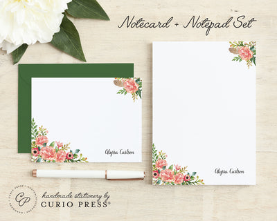 Coral Florals: Flat Card + Notepad Set - Curio Press