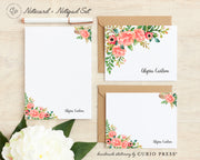 Coral Florals: Folded + Flat + Notepad Set