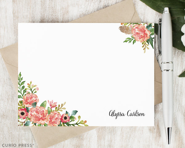 Coral Florals : Flat Card Set - Curio Press