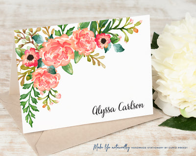 Coral Florals: Folded Card Set