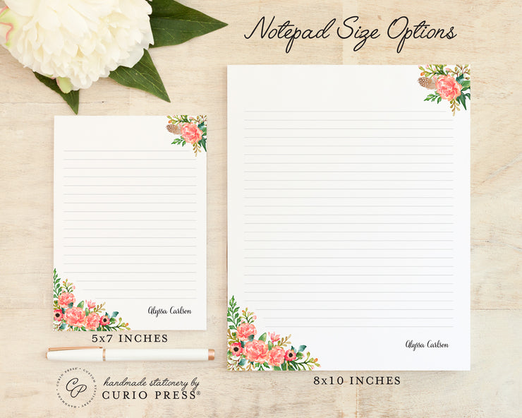 Coral Florals: Notepad - Curio Press
